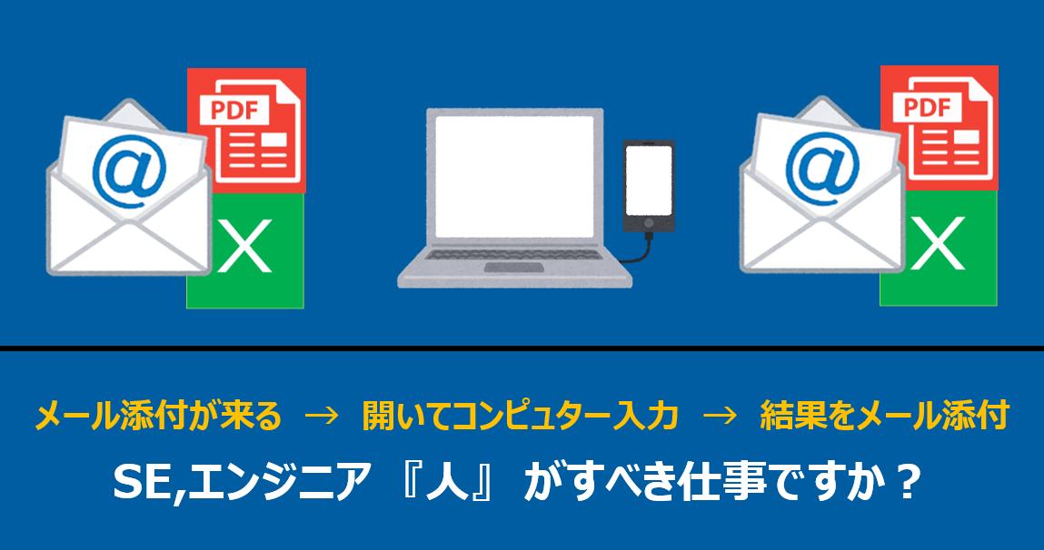 メール添付が来る → 開いてコンピュター入力 → 結果をメール添付 SE,エンジニア 『人』 がすべき仕事ですか?